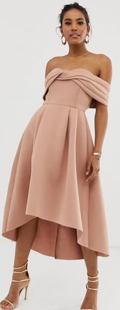 ASOS off the shoulder bardot full skirt dress, summer wedding guest dress, nude pink cocktail dress