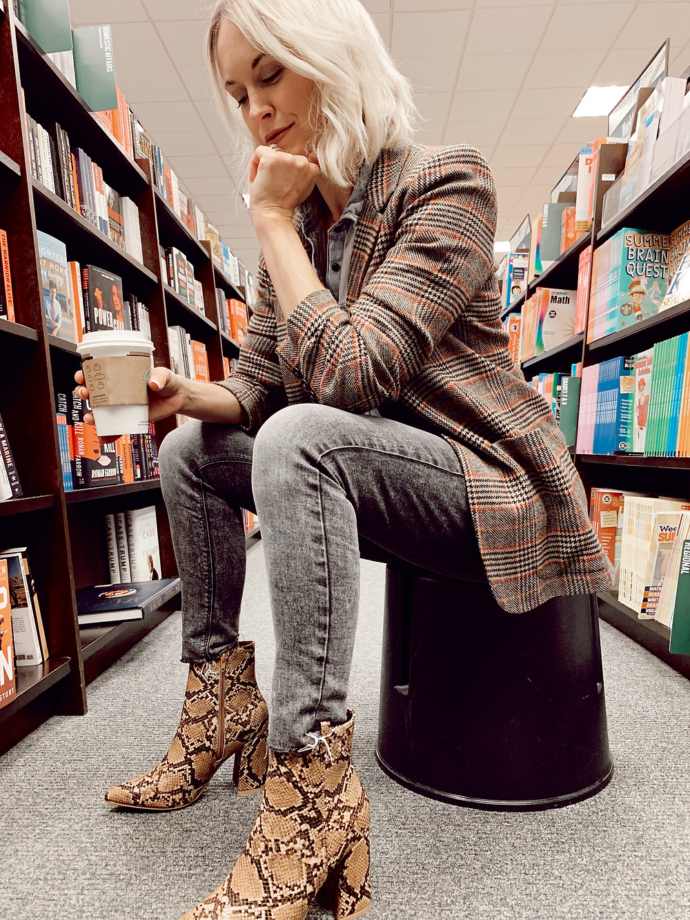 How to style brown snakeskin print ankle booties for fall, women's plaid blazer, casual outfit idea, fashion blog, fall fashion trends
