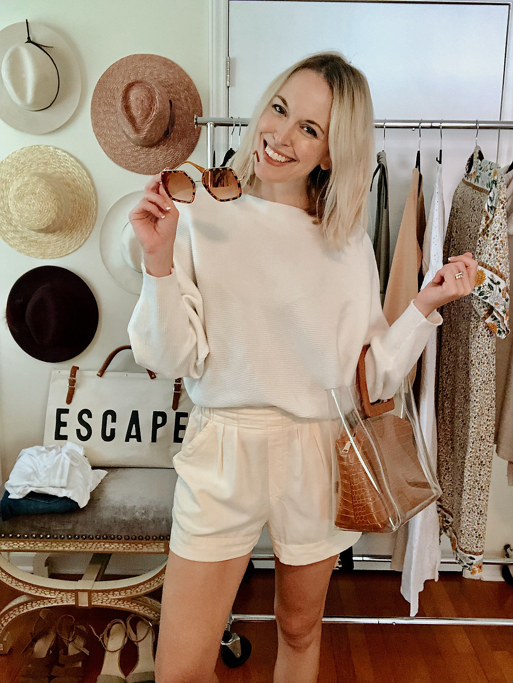 All white outfit, dolman sweater, ivory shorts, travel style, casual outfit, wedding outfit, style blogger, everyday style, anniversary getaway to Asheville
