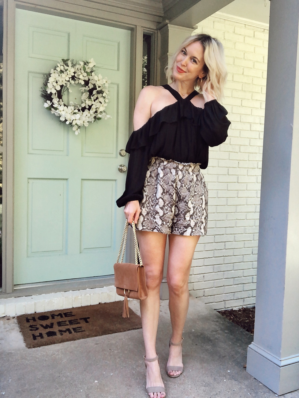 snakeskin print shorts, black bodysuit, summer outfit, H&M shorts, Madewell sandals, Madewell transport tote, fashion blogger