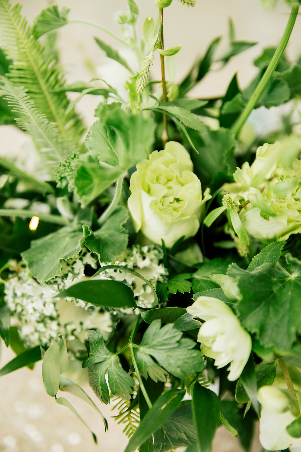 Detail of green floral centerpiece