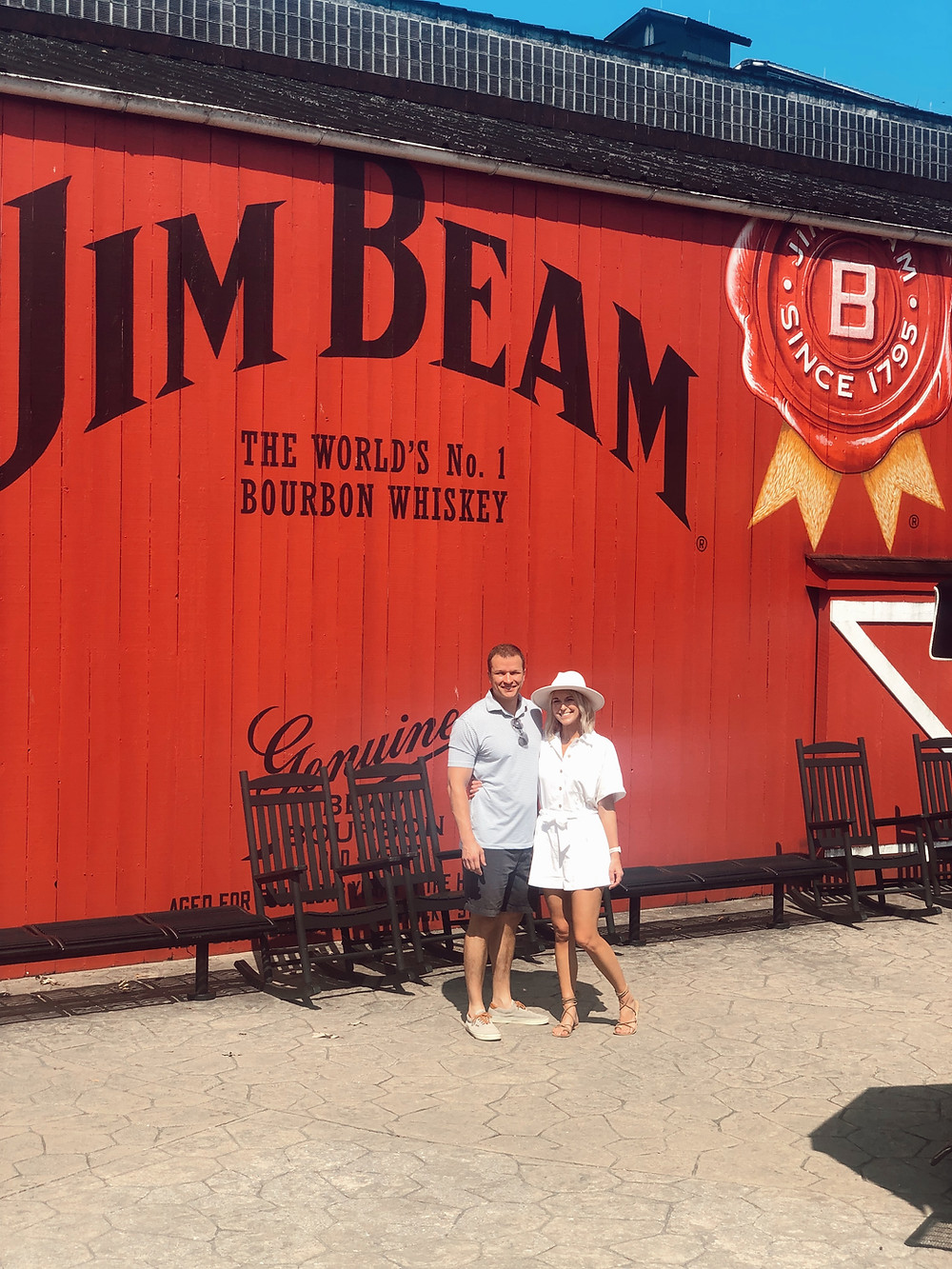 Red Jim Beam logo on exterior of tasting room building in Clermont Kentucky, Bourbon Trail travel guide, travel blog, best distillery tour