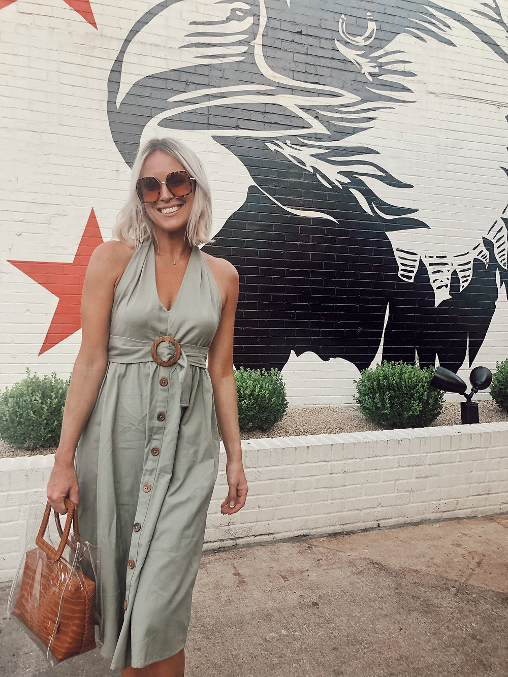 Fashion blogger wears sage green ASOS linen halter dress to dinner at The Eagle in Louisville Kentucky, summer dresses, summer date night outfit