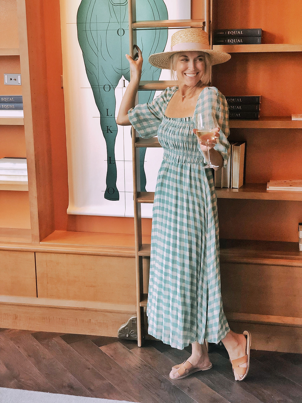 Summer travel look book outfit idea, ASOS green gingham pleated maxi dress styled with straw hat, travel blogger, summer style