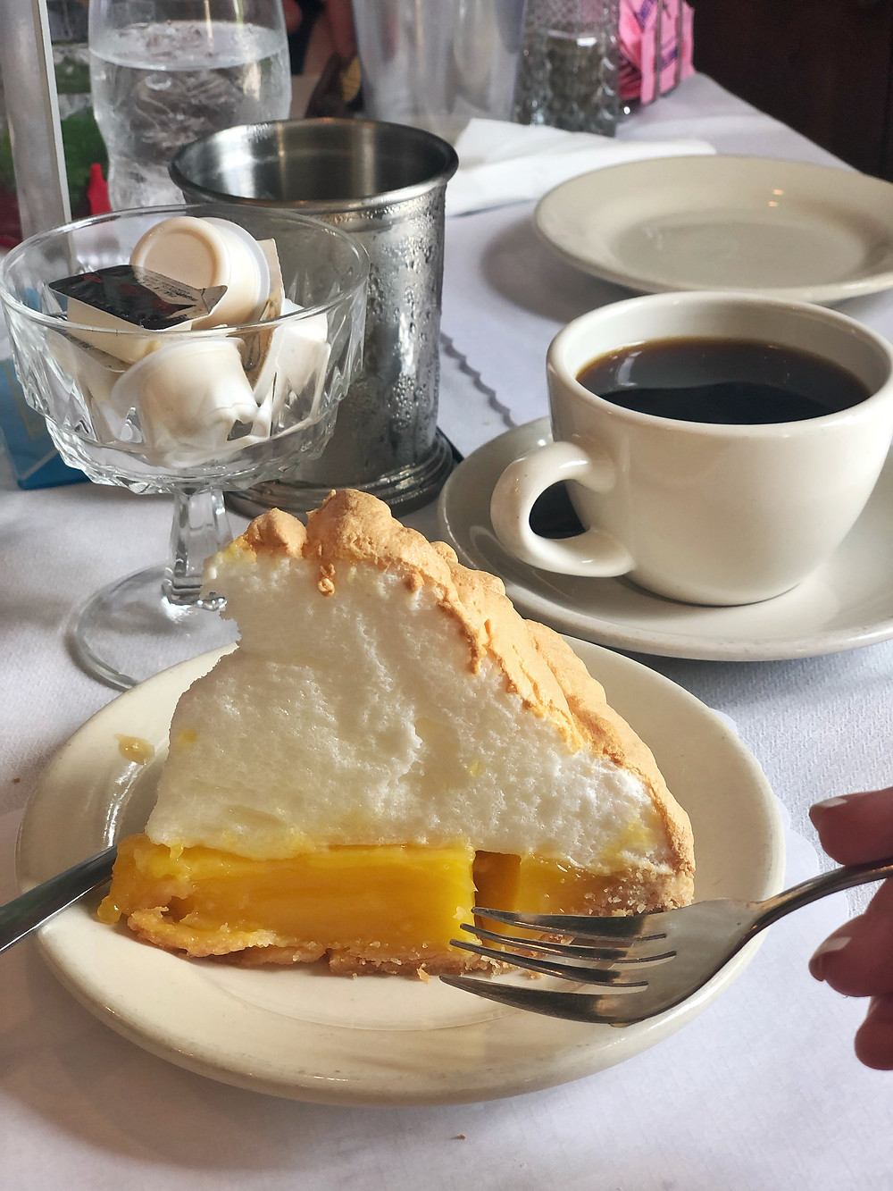 Homemade lemon meringue pie and coffee at Kurtz restaurant in Bardstown Kentucky, fried chicken, Bourbon Trail travel guide, where to eat in Bardstown, best restaurants, travel blog