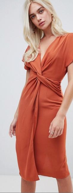 ASOS twist front midi dress, summer wedding guest dress, rust copper cocktail dress