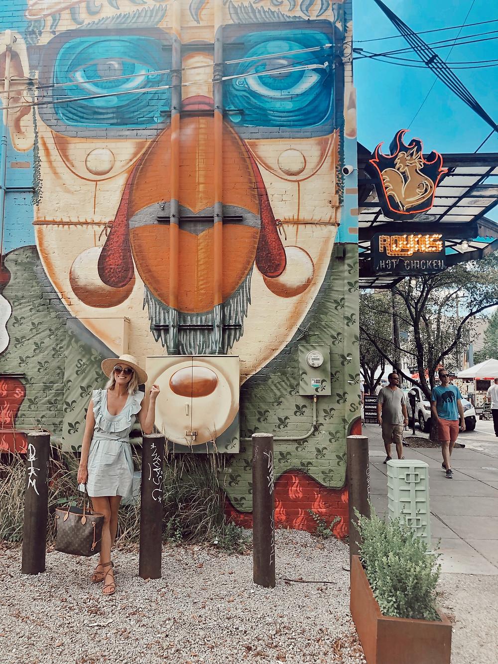Royals Hot Chicken wall mural, fried chicken, Bourbon Trail travel guide, where to eat in Louisville, best restaurants, travel blog
