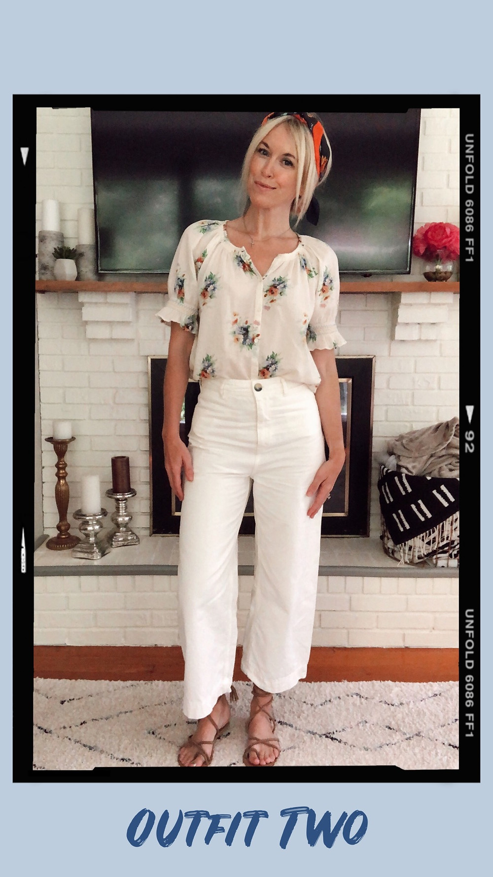 Summer capsule wardrobe outfit, Madewell smocked floral top, Free People patti cropped pants, floral head scarf, lace-up sandals, wardrobe stylist and fashion blogger