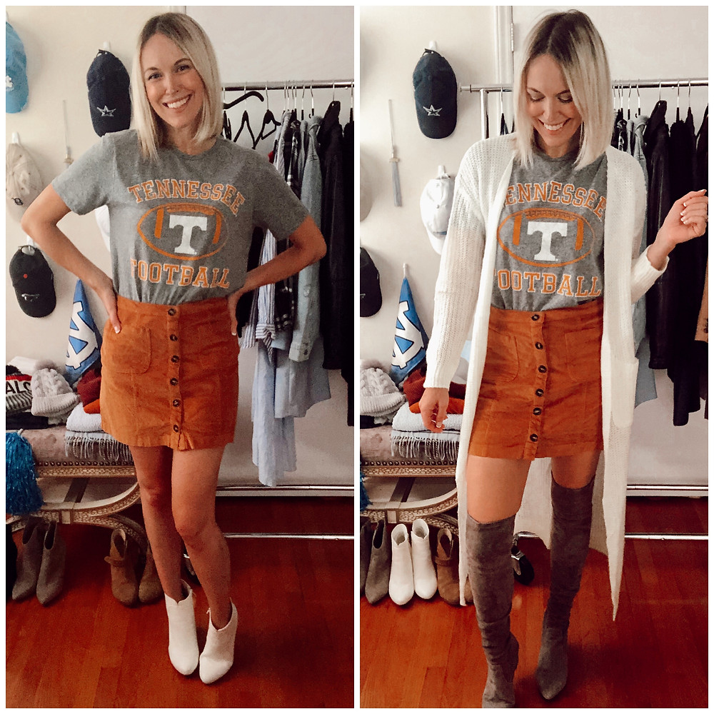 Game day outfit idea for Tennessee football fans: team logo t-shirt, corduroy skirt, boots, duster cardigan sweater.  Style ideas by fashion blogger and wardrobe stylist Brooke Williams.