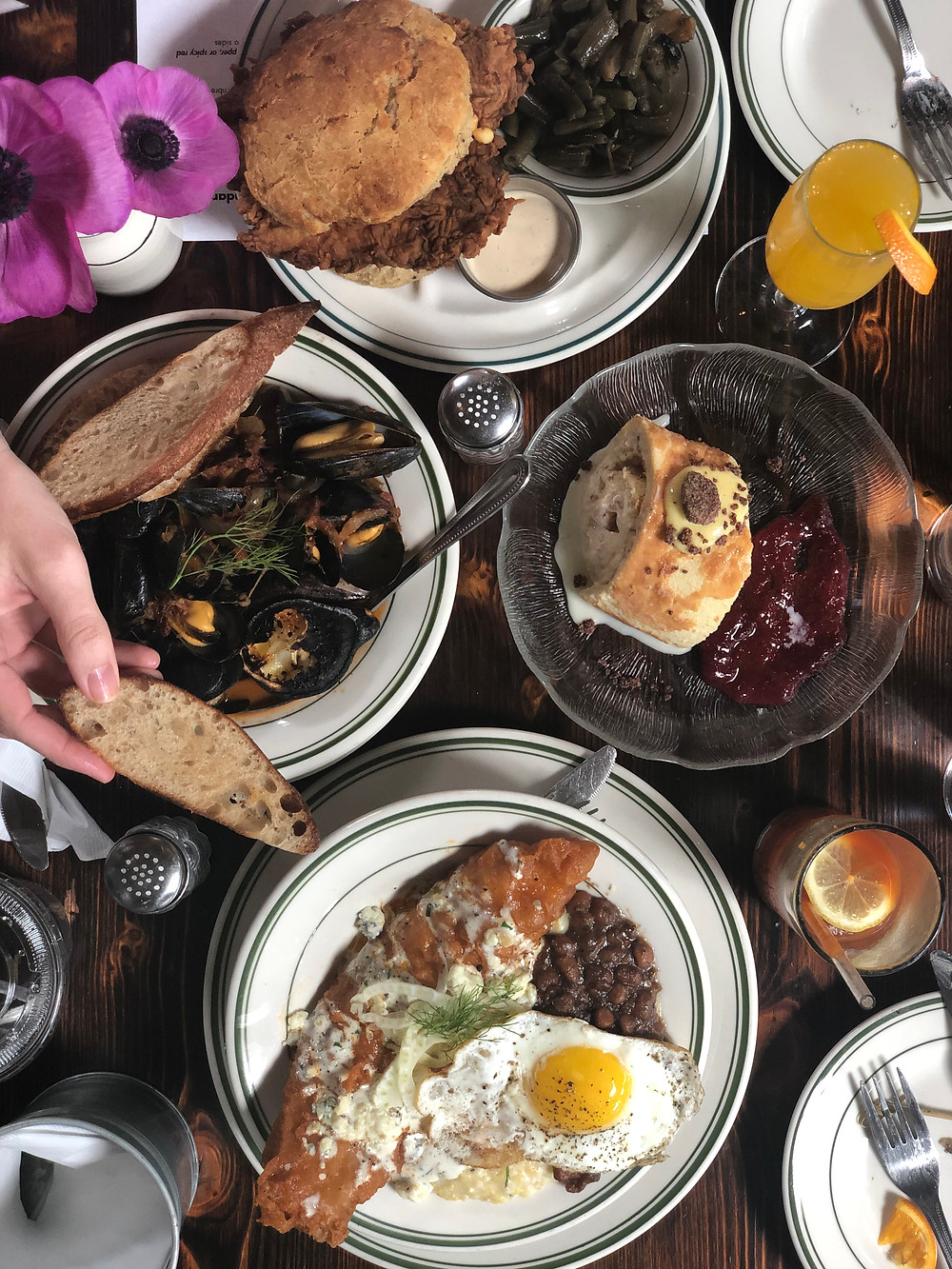 Buxton Hall Sunday Brunch Asheville: chicken biscuit, mussels, beer battered catfish, jelly roll