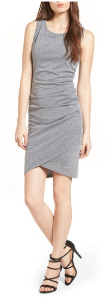 Nordstrom Leith gray ruched tank dress