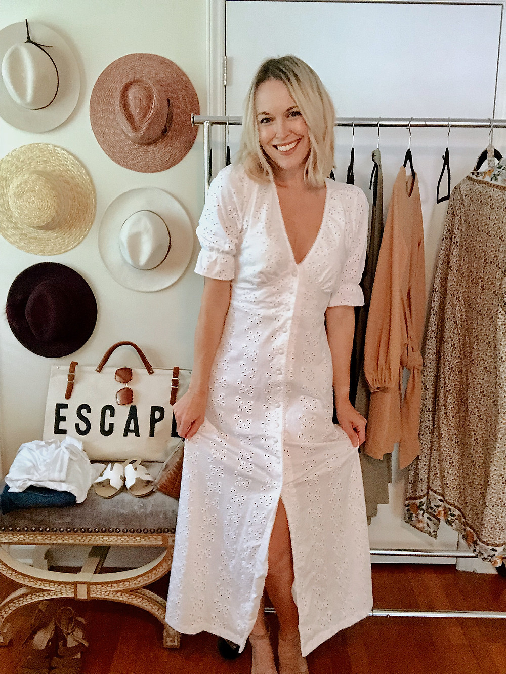 White eyelet maxi dress, date night outfit, wedding, bridal, anniversary getaway to Ashevile, style blogger, everyday style