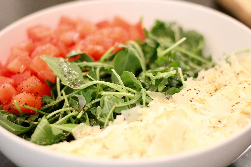 Watermelon, Arugula, and Asiago summer salad