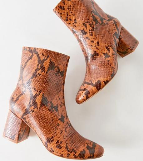 UO Alana brown snakeskin print ankle booties