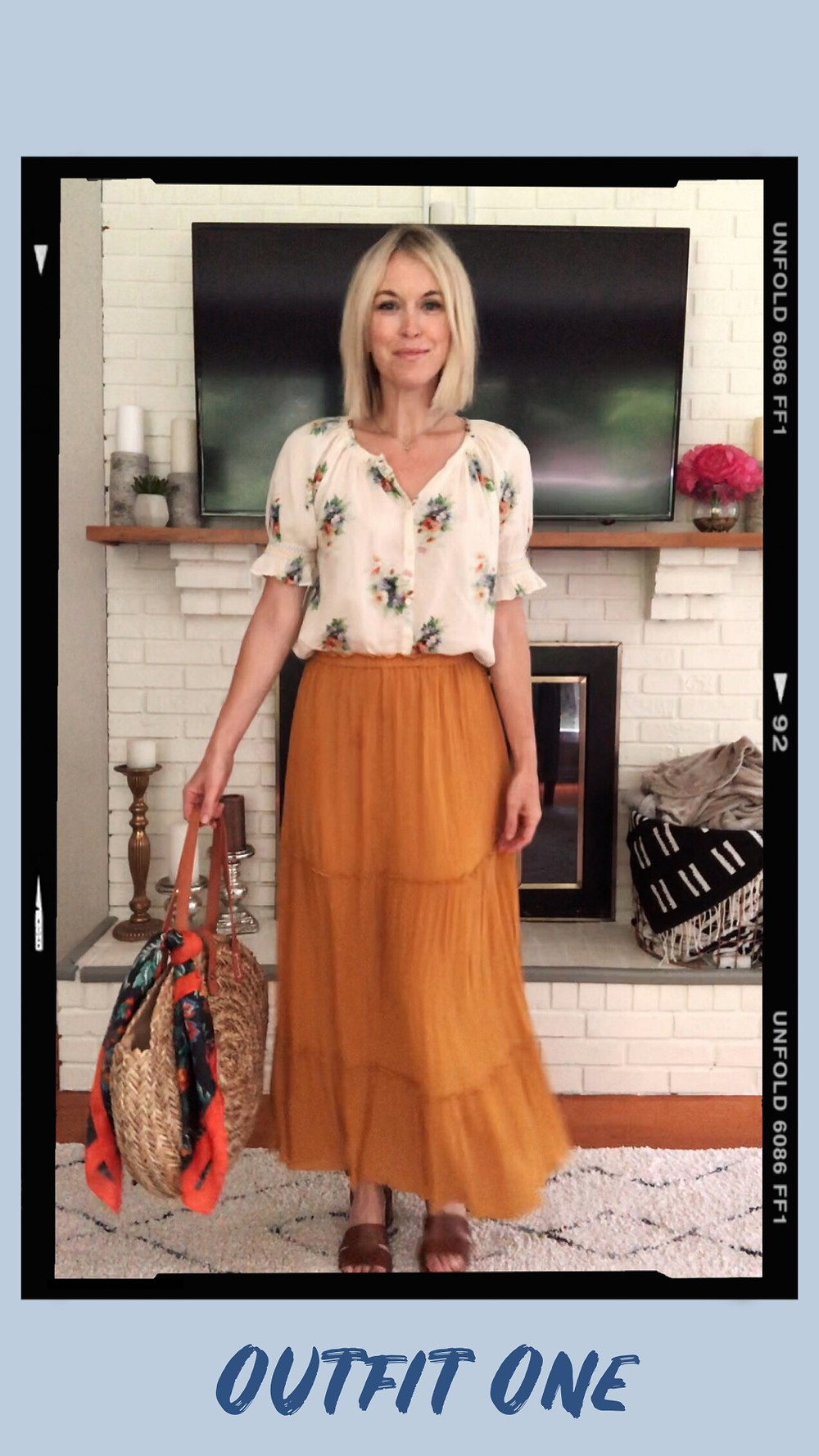 Madewell floral smocked top, yellow maxi skirt, Target round straw bag, floral scarf, summer outfit idea, capsule wardrobe, wardrobe stylist and fashion blogger