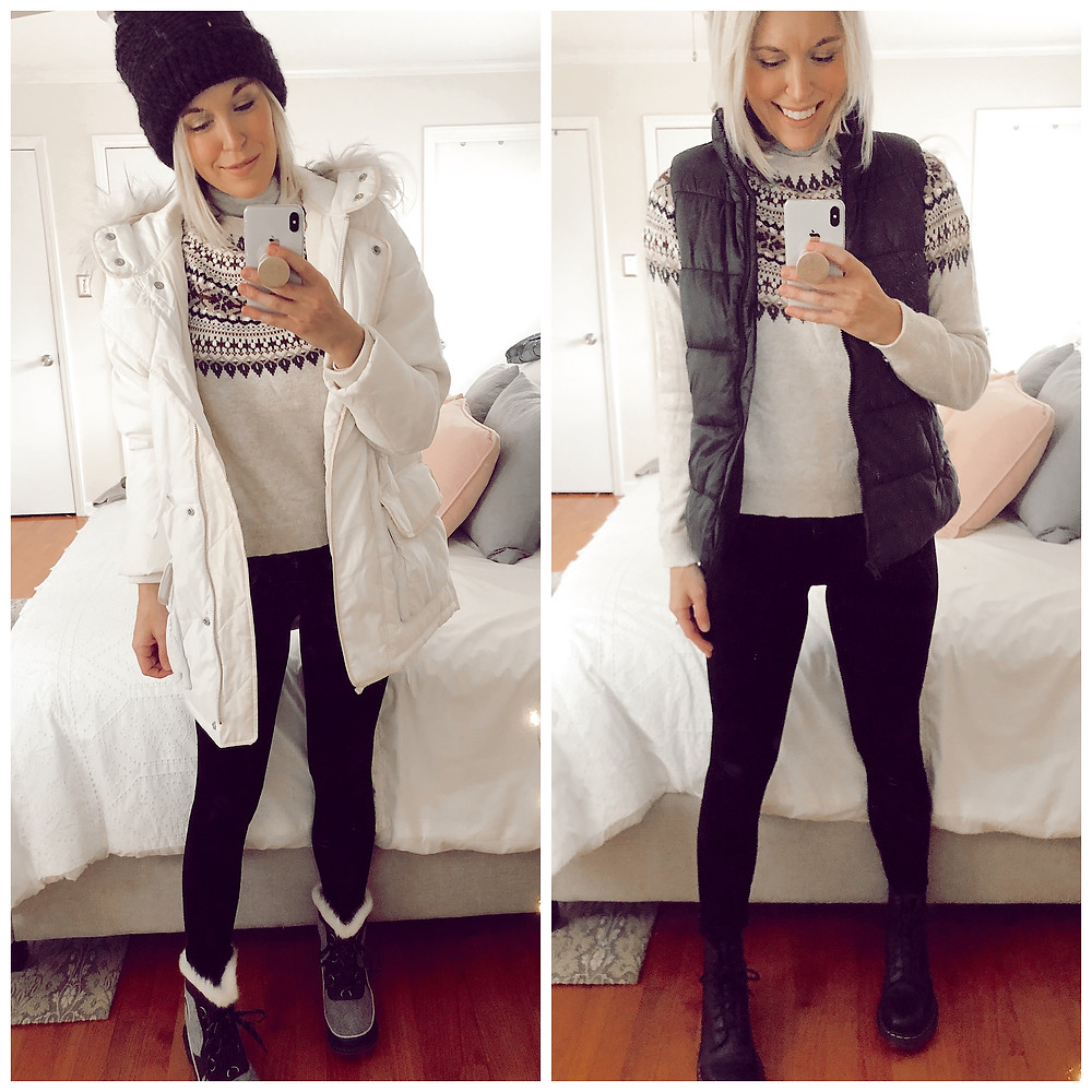 Two ways to wear H&M Fair isle sweater for winter, parka coat and snow boots, puffer jacket and combat boots, fashion blog, casual fall outfit ideas