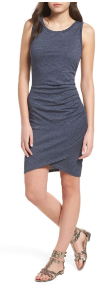 Nordstrom Leith charcoal gray ruched tank dress