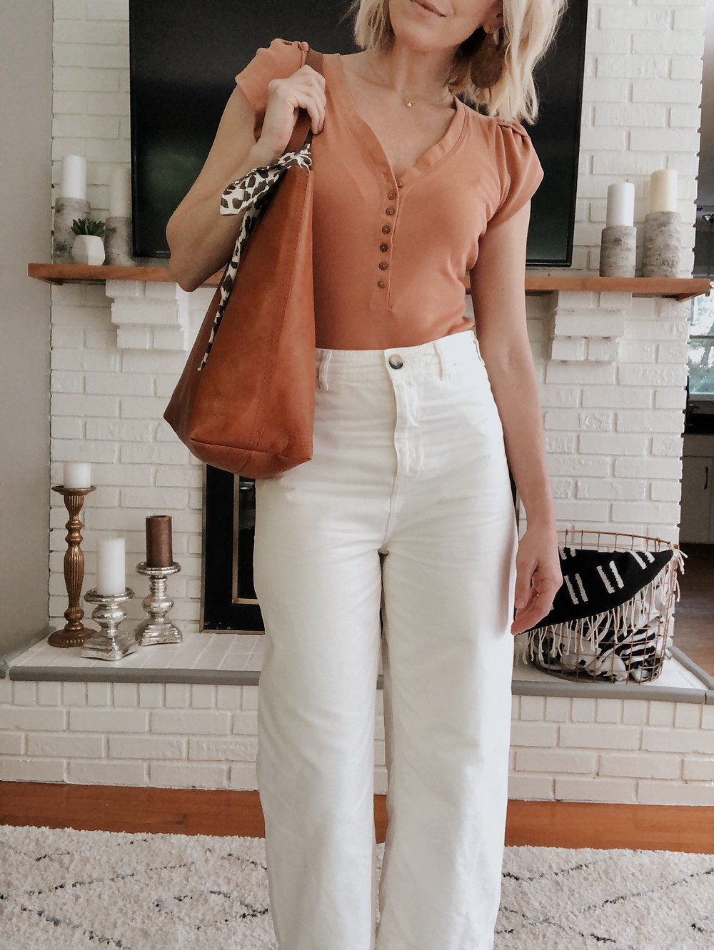 Summer outfit, cropped wide leg white pants, peach bodysuit