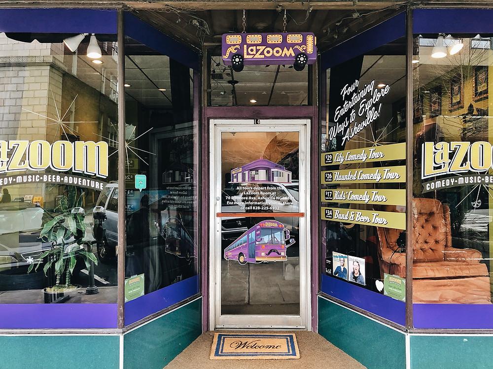 La Zoom bus tours store front downtown asheville nc