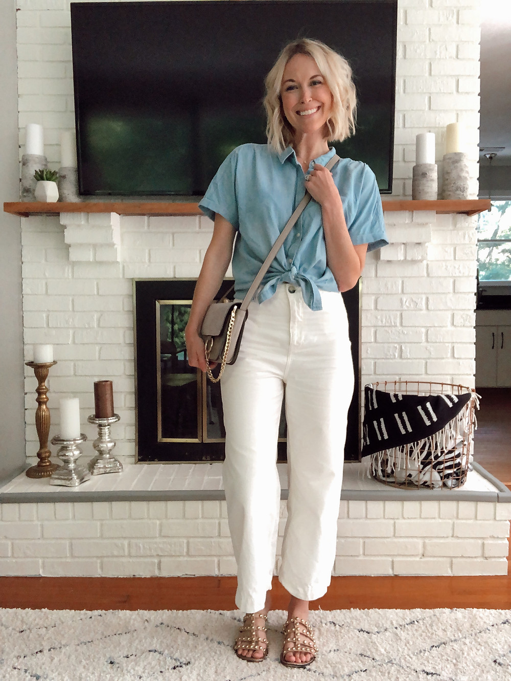 Summer outfit, cropped wide leg white pants, chambray shirt, studded sandals