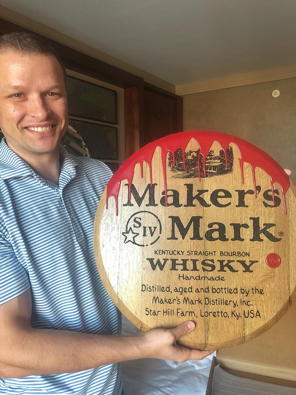 Maker's Mark red wax drips down engraved barrel end, Bourbon Trail travel guide, travel blog, best distillery tour