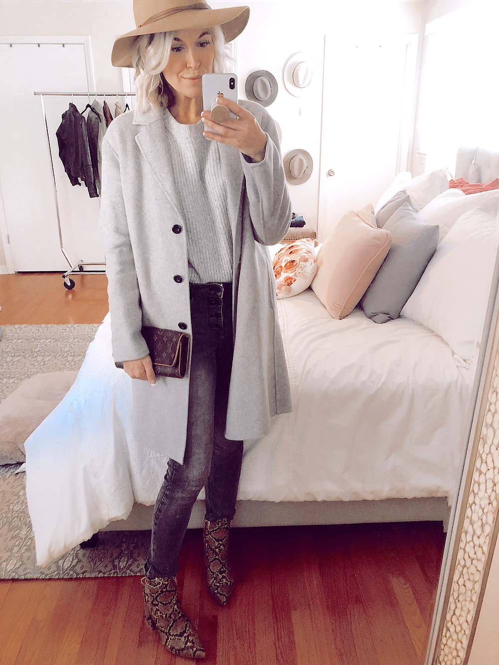 How to style snakeskin booties for fall, monochromatic gray layers, gray coat and gray sweater and gray jeans and tan wide brim hat, fall casual outfit ideas, style tips for women, fashion blog