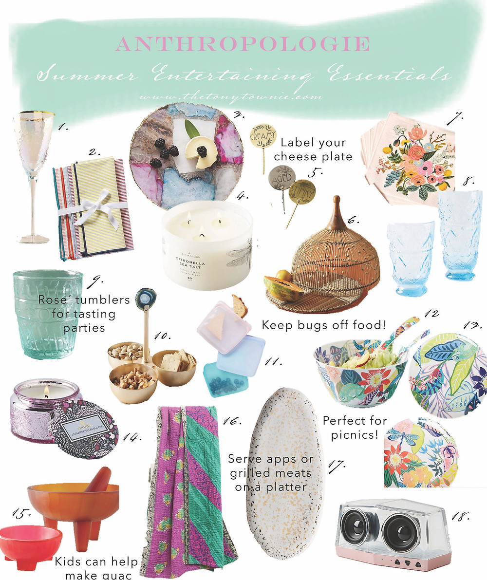 Summer entertaining essentials from Anthropologie, glassware, platters, melamine outdoor dishes, candles