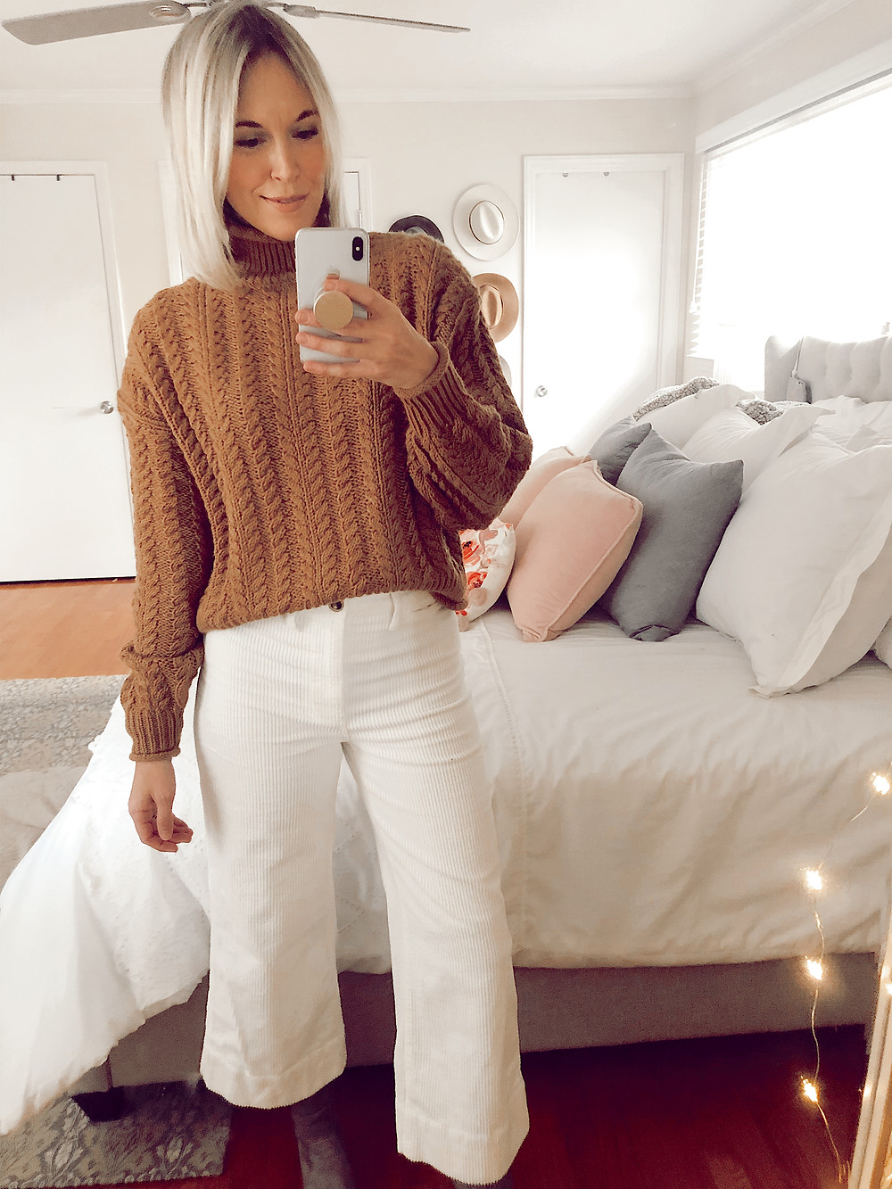 Outfit selfie in H&M tan turtleneck cable knit sweater and Madewell Emmett corduroy wide leg cropped pants, fashion blog, casual fall outfit ideas