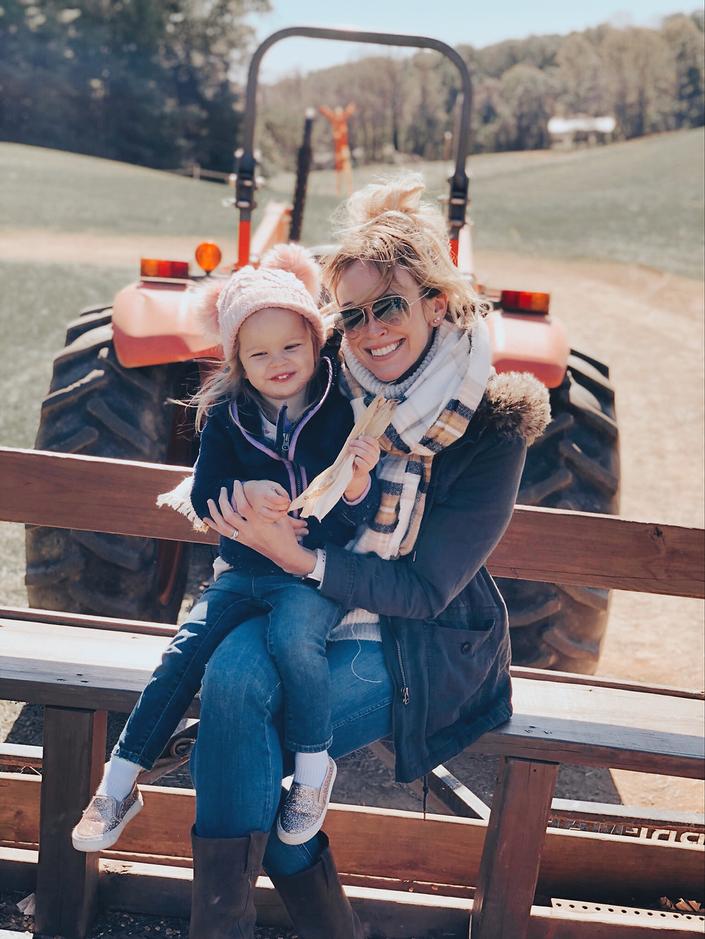 Mommy daughter tractor hay ride at Eliada Home Corn Maze Asheville