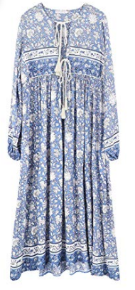 R. Vivimos blue floral retro boho midi dress, summer dresses, Amazon fashion
