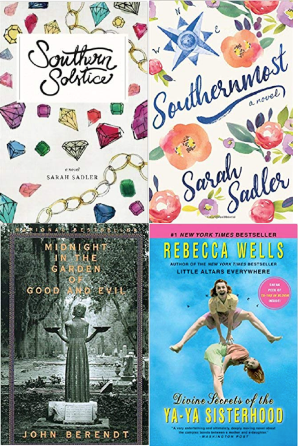 Best summer beach reads book list, books set in the south, southern solstice, southernmost, midnight in the garden of good and evil, divine secrets of the ya-ya sisterhood