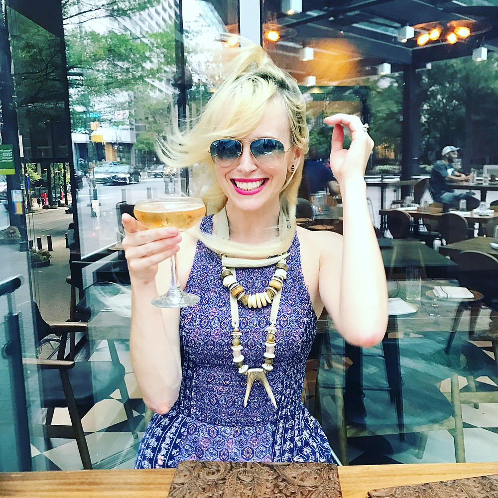 Brooke Williams drinks rosé at Essex in downtown Charlotte