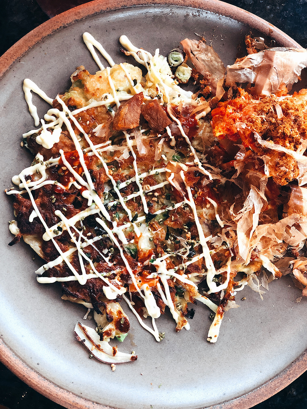 Gan Shan Station, Asheville restaurant, Okonomiyaki Japanese cabbage pancake, Asian food and fare, Visit Asheville, local favorite
