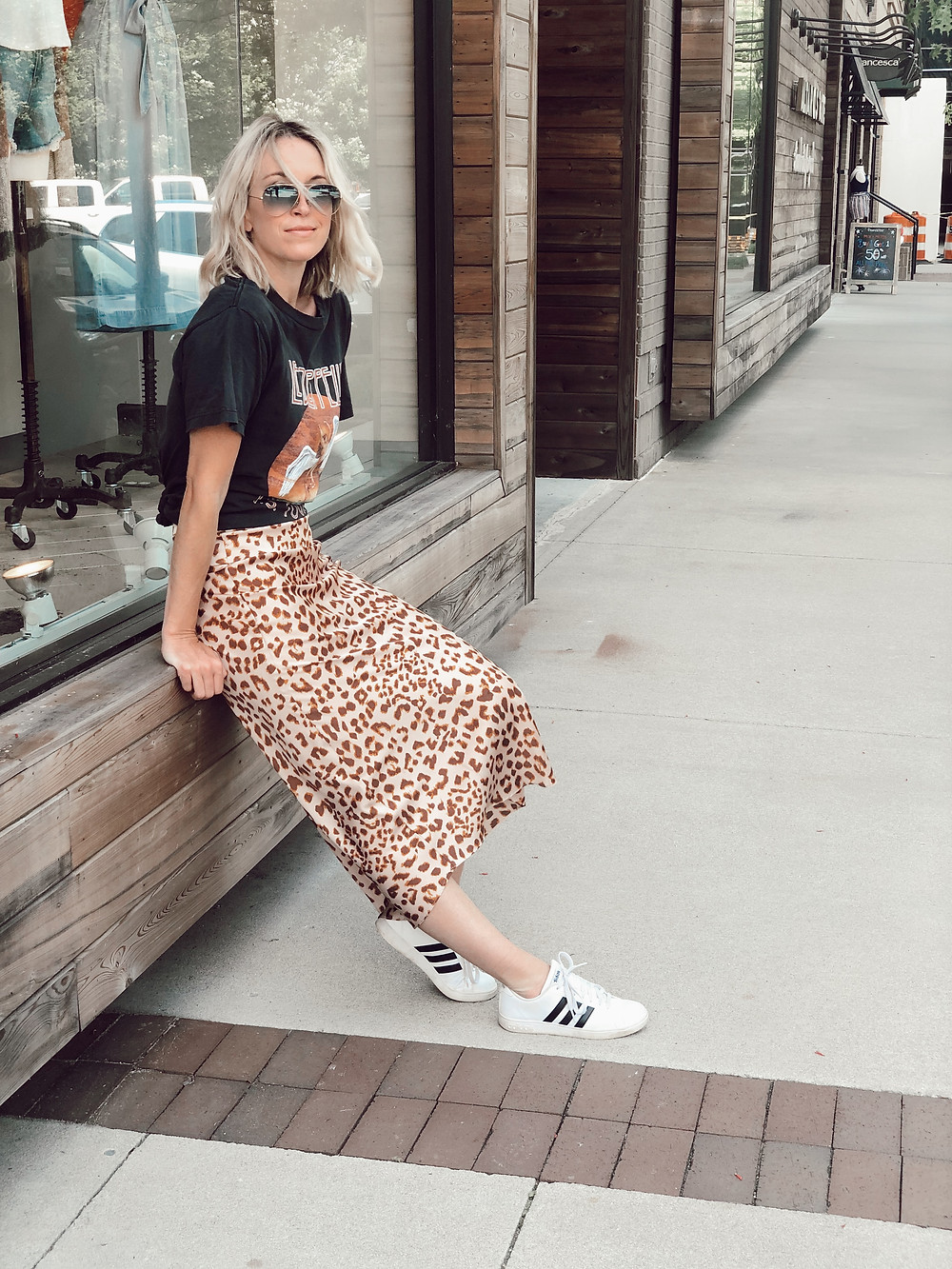 Mom style, skirt and sneakers, weekend outfit, leopard print midi skirt, Led Zeppelin t-shirt, Adidas sneakers, boho chic style, free people outfit