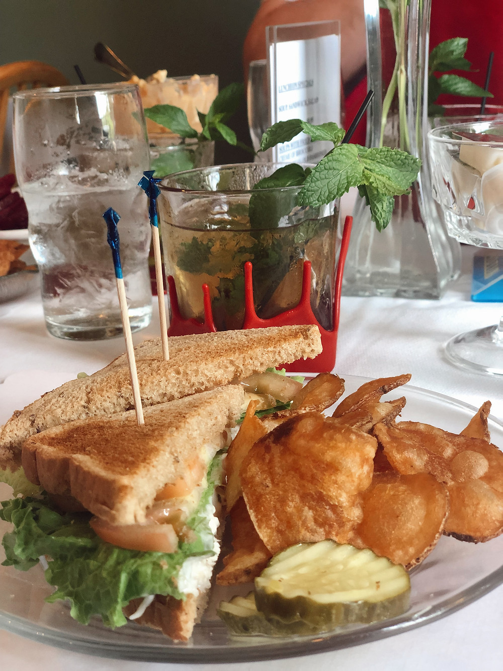 Chicken salad sandwich and Maker's Mark mint julep at Kurtz restaurant in Bardstown Kentucky, Bourbon Trail travel guide, where to eat in Bardstown, best restaurants, travel blog