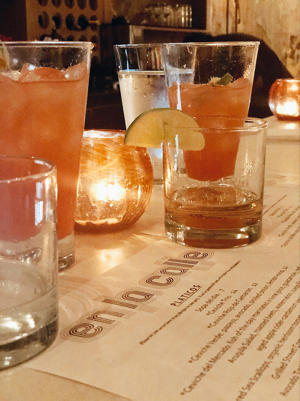 Blood orange margaritas, tequila shots on menu of En la Calle Asheville NC