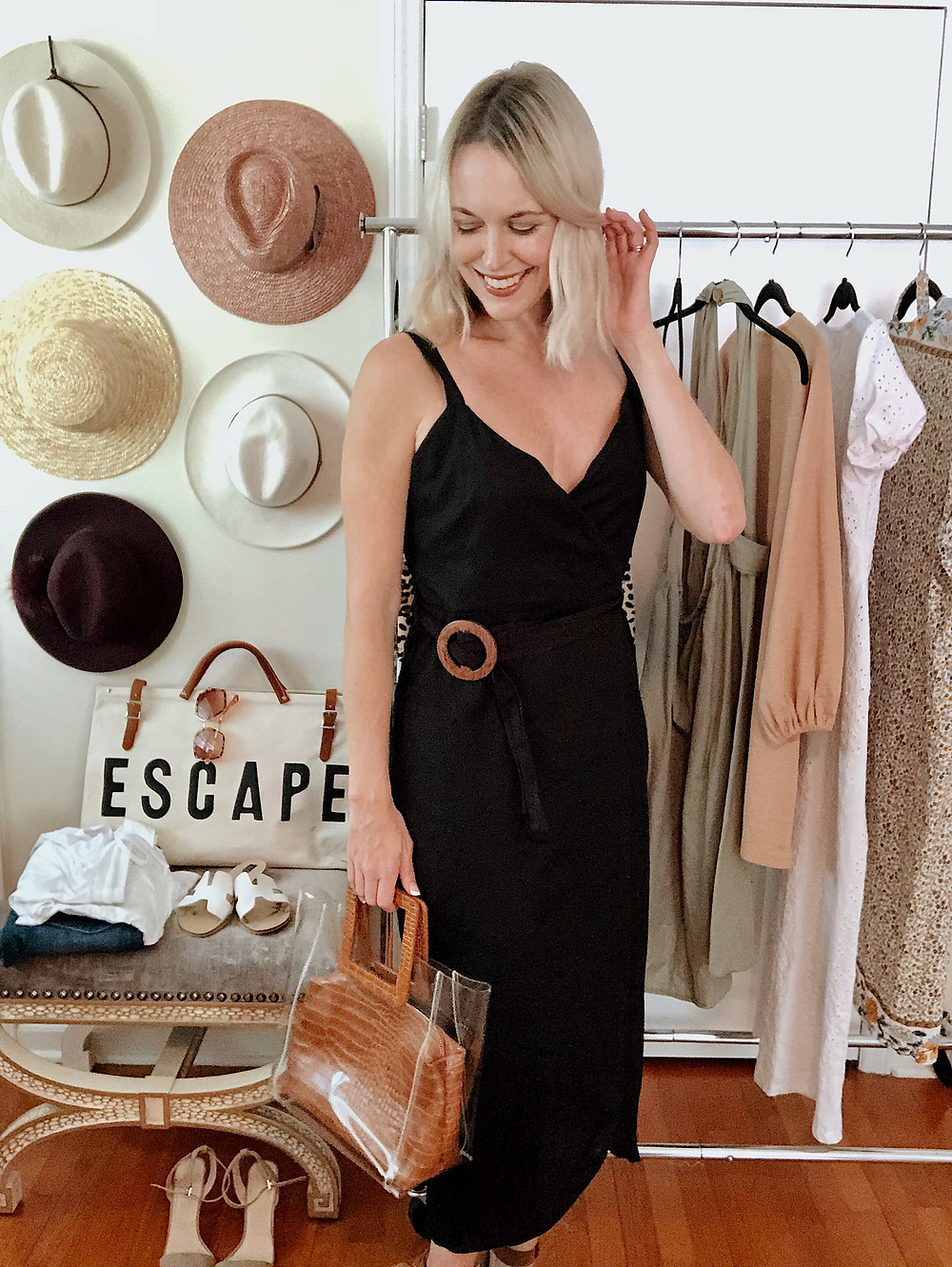 Black wrap dress, LBD, date night outfit, anniversary getaway to Asheville, style blogger, everyday style