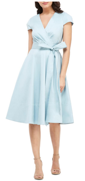 Gal Meets Glam Addison Dress, summer wedding guest dress, pale blue fit and flare cocktail dress