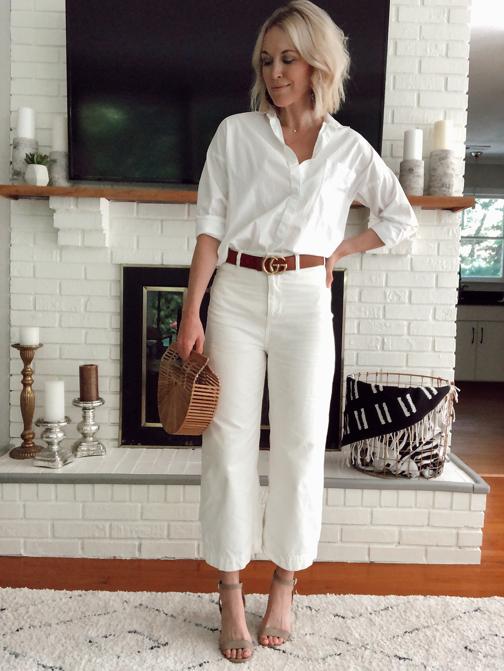 All white outfit, cropped wide leg white pants, GG belt