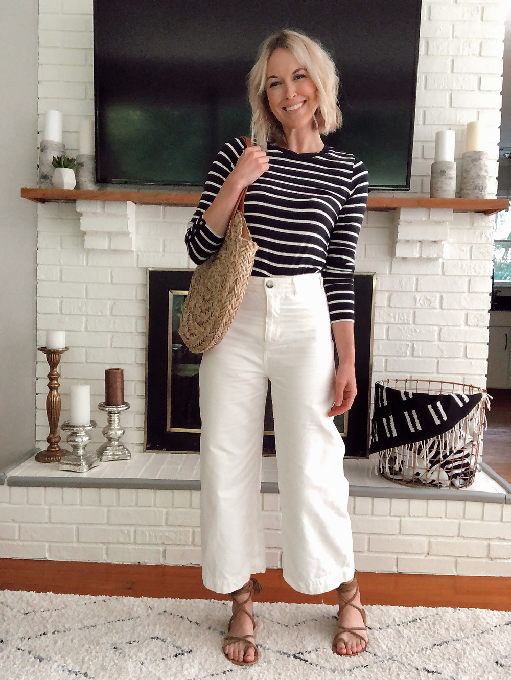 Summer outfit, cropped white wide leg pants, navy striped shirt, straw bag