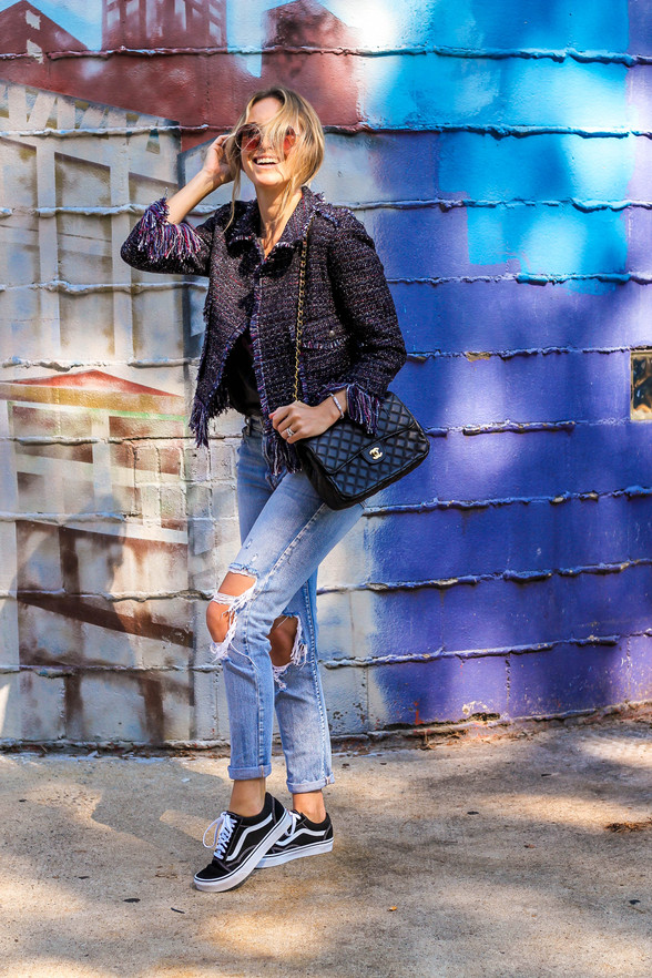 Fall Outfit Idea: Tweed Jacket + Torn Jeans