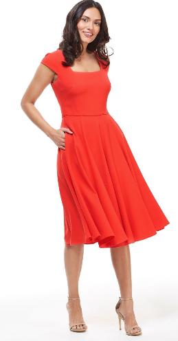 Gal Meets Glam Regina Dress, red cocktail dress, square neckline midi dress, summer wedding guest dress