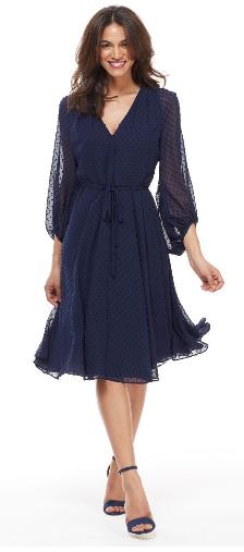 Gal Meets Glam Darby Dress, summer wedding guest dress, navy cocktail dress, swiss dot dress