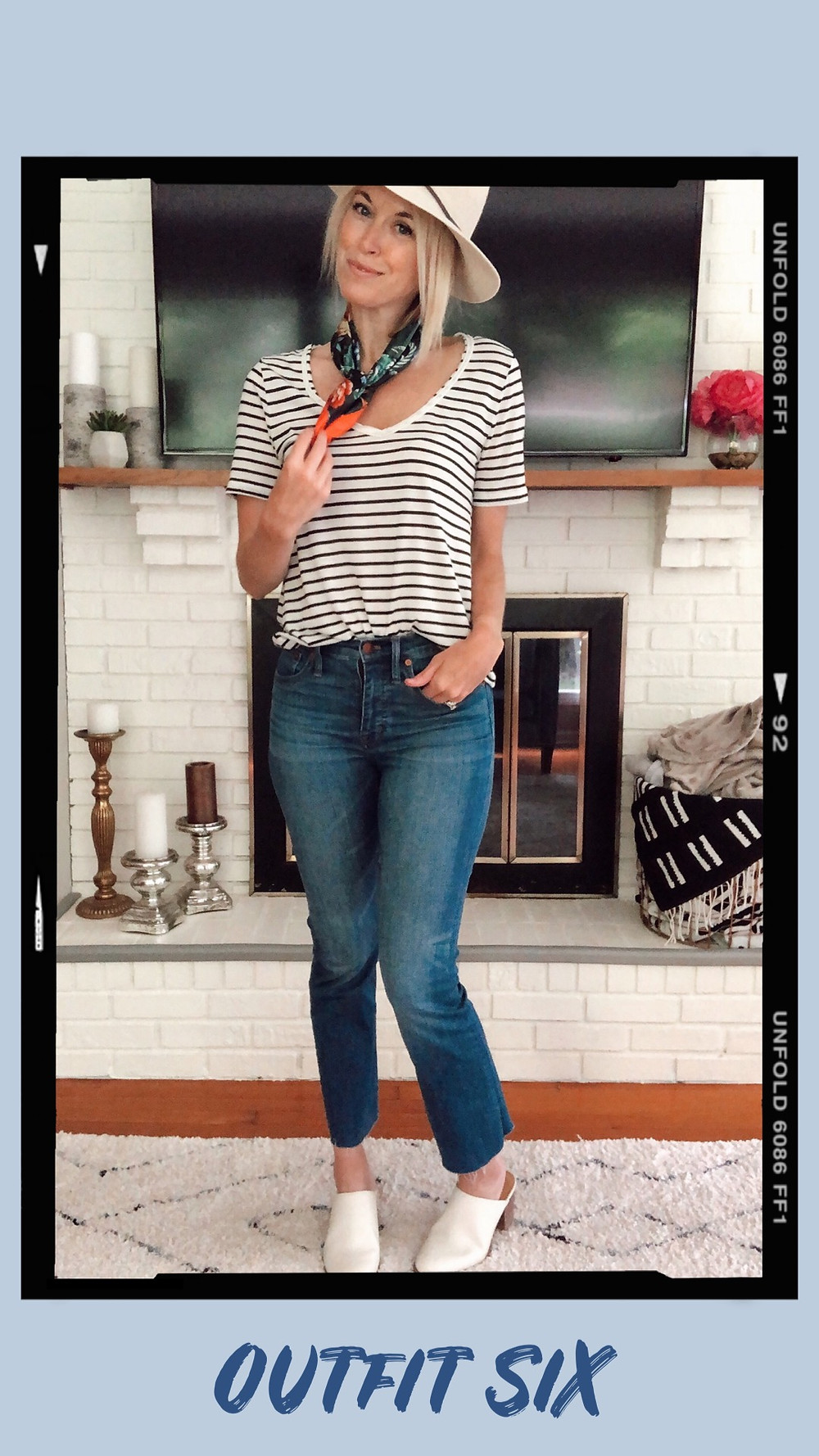 Summer capsule wardrobe outfit idea, striped t-shirt, cropped flare jeans, floral neck scarf, panama hat, Madewell Harper mules, wardrobe stylist and fashion blogger
