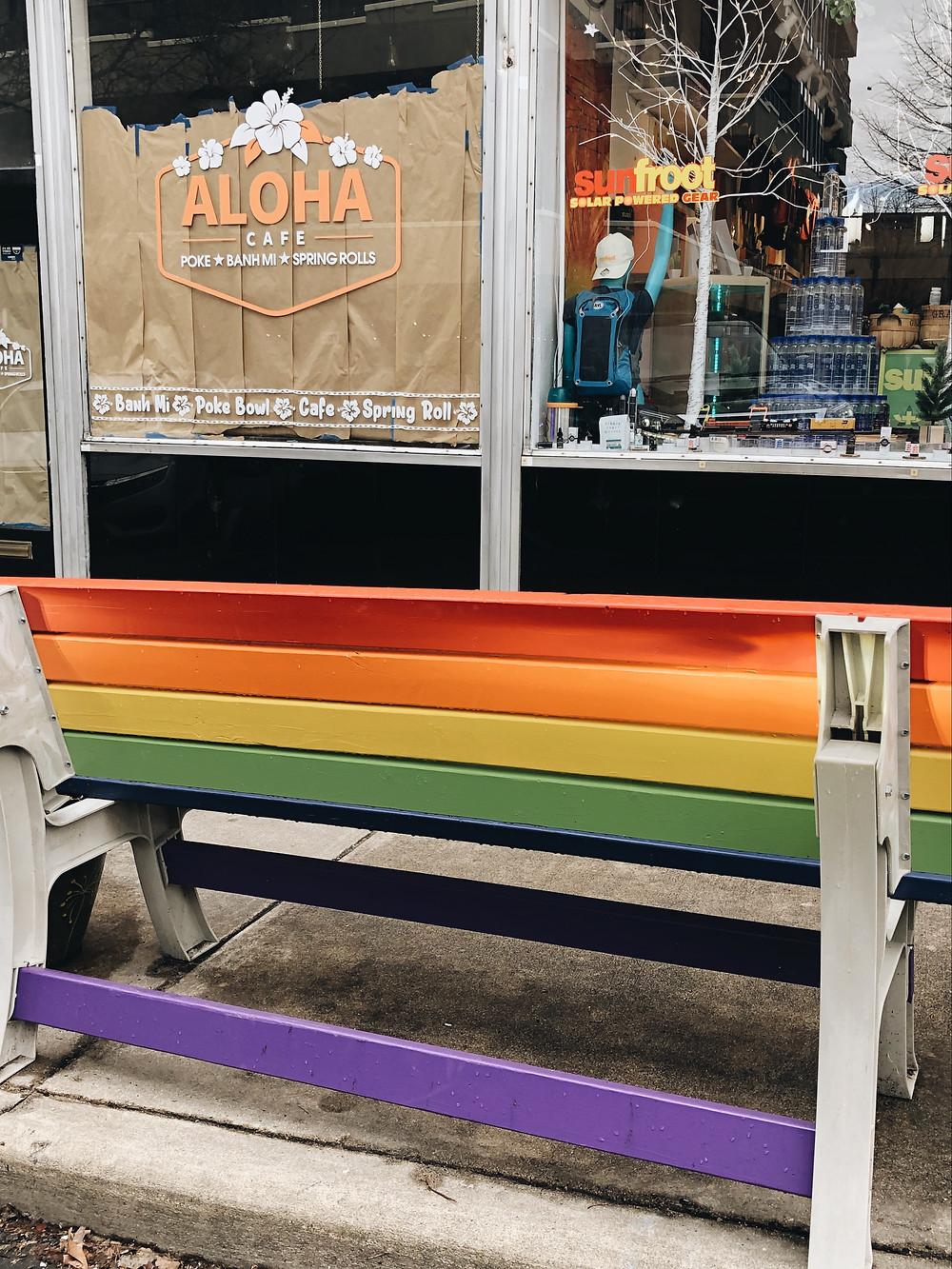 Rainbow bench Battery Park Avenue asheville nc