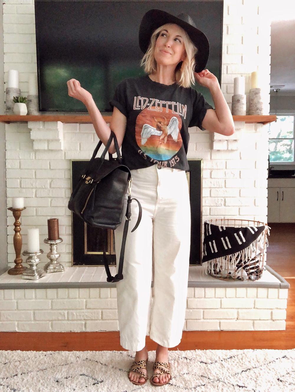 Summer outfit, Led Zeppelin t-shirt, cropped wide leg white pants, black floppy hat, leopard print sandals