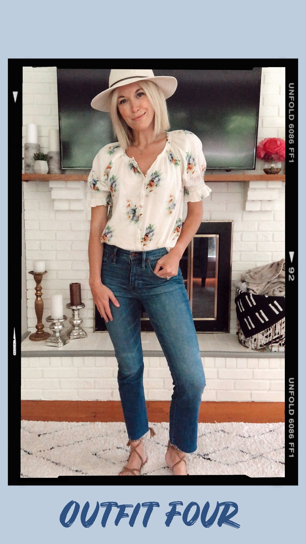 Summer capsule wardrobe outfit idea, Madewell floral smocked blouse, cropped flare jeans, lace-up sandals, panama hat, wardrobe stylist and fashion blogger