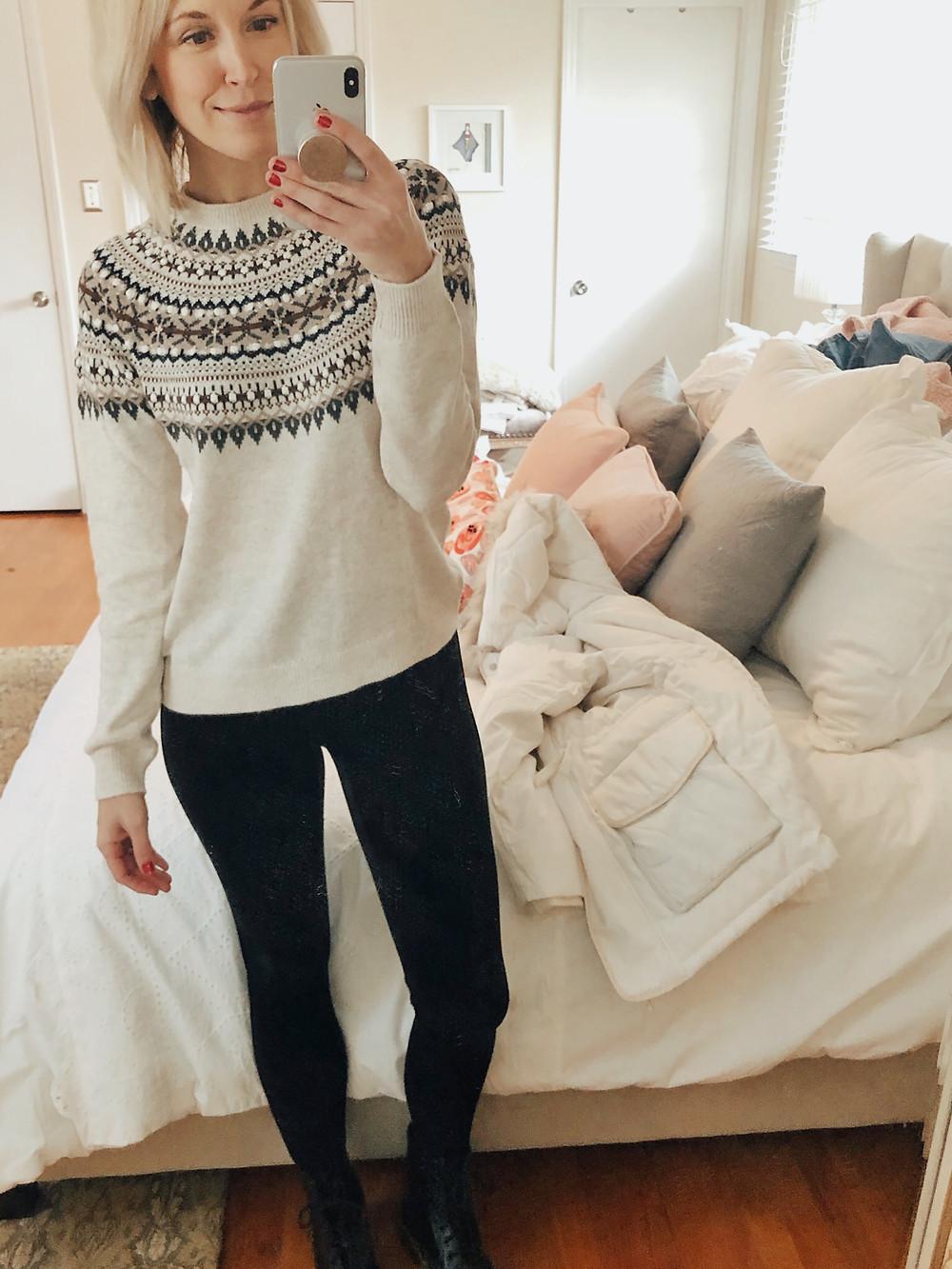 Brooke Williams (The Tony Townie) wears a classic fair isle sweater and velvet leggings.