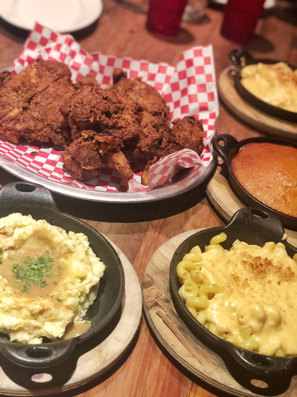 Fried chicken, macaroni and cheese, mashed potatoes and gravy, spoonbread at The Eagle in Louisville, fried chicken, Bourbon Trail travel guide, where to eat in Louisville, best restaurants, travel blog