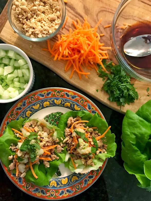 Easy Dinner Idea: Thai Lettuce Cups + Pot Stickers
